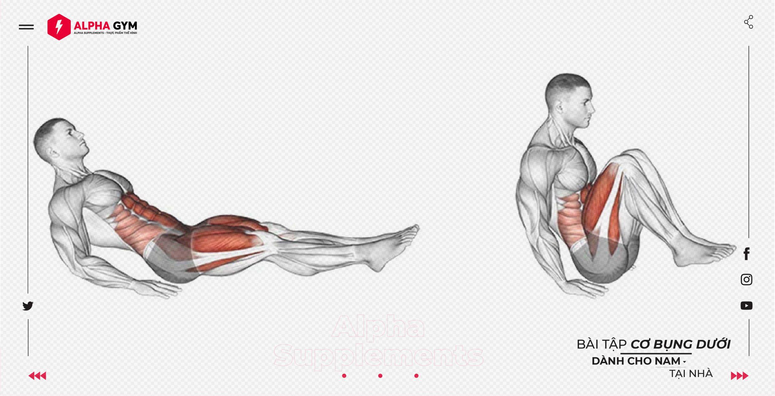 Top 11 các bài tập cơ bụng giúp giảm mỡ cho nam tại nhà - Alpha Supplements